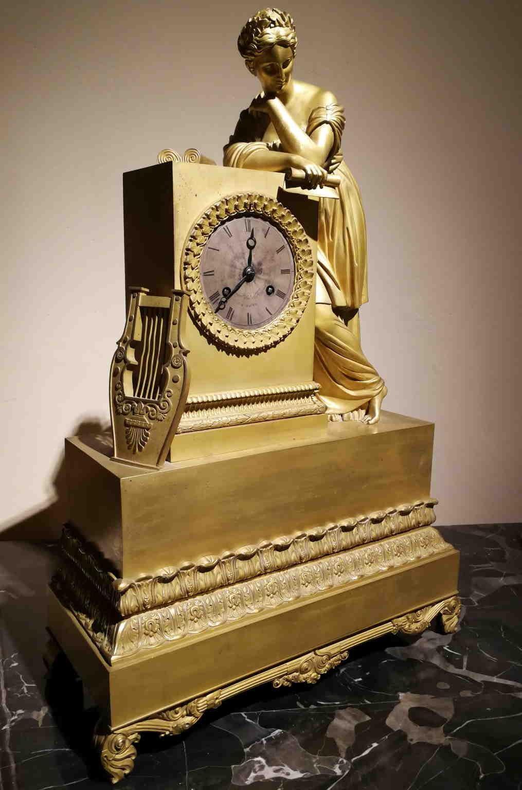 Honoré Pons et de Renard Gilded Bronze Mantel Clock 1827