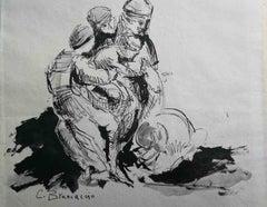 Carlo Brancaccio, study, 19th-20th, ink on paper, signed
