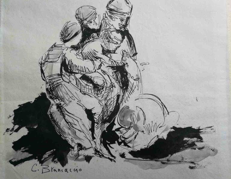 Carlo Brancaccio Figurative Art - Signed C Brancaccio Abstract Figurative Ink Paper Drawing