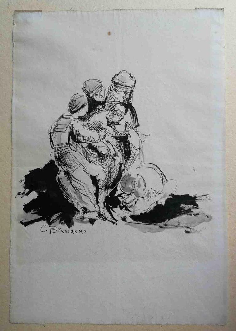 Signed C Brancaccio Abstract Figurative Ink Paper Drawing  - Art by Carlo Brancaccio