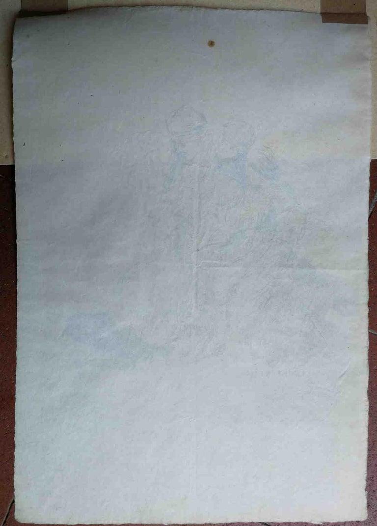 Signed C Brancaccio Abstract Figurative Ink Paper Drawing  - Impressionist Art by Carlo Brancaccio