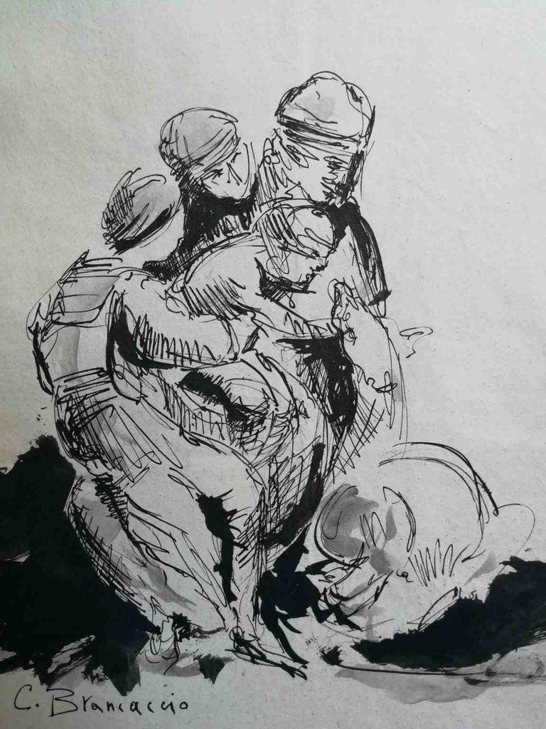 Signed C Brancaccio Abstract Figurative Ink Paper Drawing  - Gray Figurative Art by Carlo Brancaccio