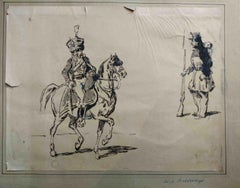 Hippolyte Bellangé (attr.), Two french soldiers, half of the 19th, ink on paper