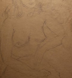 Signed G Peyron Nude Pencil Portrait Drawing dated 1947