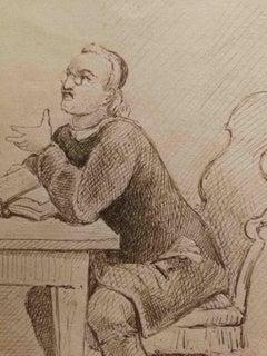 Signed G Garofalo Interior Figurative Novel Drawing Dated 1883