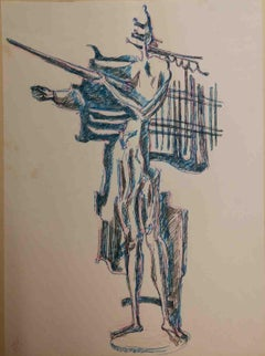 Signed R A Salimbeni Abstract Ink Drawing 1960s
