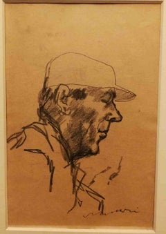 Mino Maccari, Double face Portrait, half 20th, charcoal on paper, signed