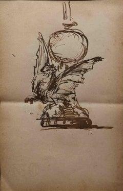 Ink Interior Drawings and Watercolors
