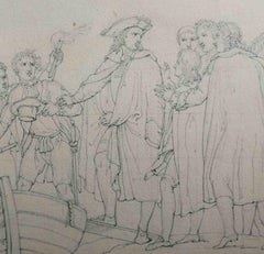 English Neoclassical Historical Pencil Drawing 18th century