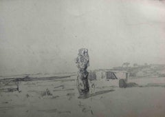 Signed A Markò Landscape Pencil Drawing 19th century