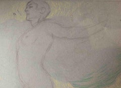 Attributed M Dudovich Allegorical Nude Figurative Coloured Drawing 1930s