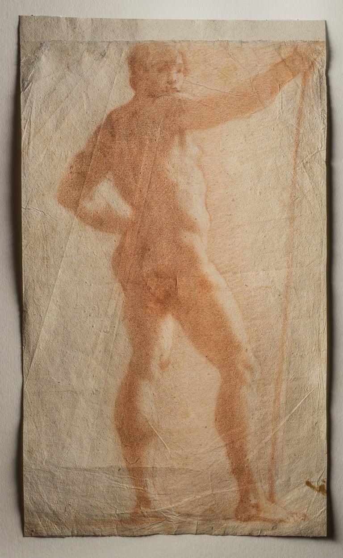 Baldassare Franceschini, called Il Volterrano Portrait - Il Volterrano Mannerist Sanguine Nude Drawing 1640s