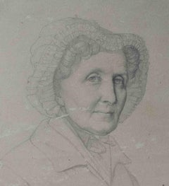 North Italian Portrait Drawing Old lady with coif 19 century pencil paper