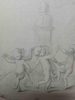 Enrico Pollastrini Putti Figurative Drawing post 1853 pencil watercolor signed