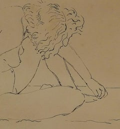 Signed Giovanni Colacicchi Nude Drawing Mid-20th ink on paper