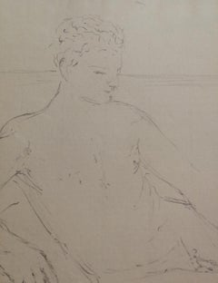 Signed Colacicchi Male Nude Drawing Mid-20 century pencil on paper