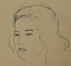 Signed Giovanni Colacicchi Female Portrait 1950s pencil pen on paper