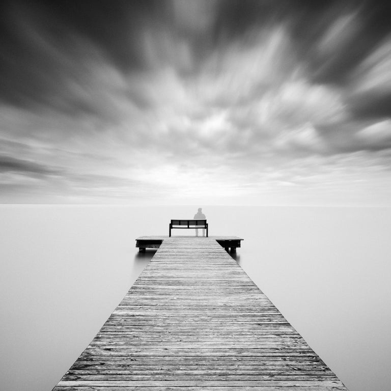 Gerald Berghammer, Ina Forstinger Landscape Photograph - Self Portrait 2, Austria - Black and White long exposure fine art photography