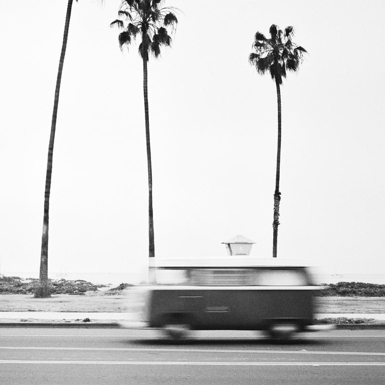 VW Bus T2, California, USA - Black and White Fine Art Photography - Gray Black and White Photograph by SILVERFINEART