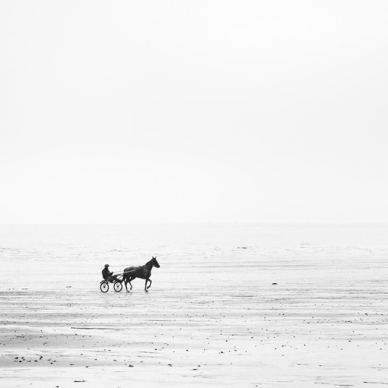 Harness Racing, France - Black and White Fine Art Photography - Gray Black and White Photograph by SILVERFINEART