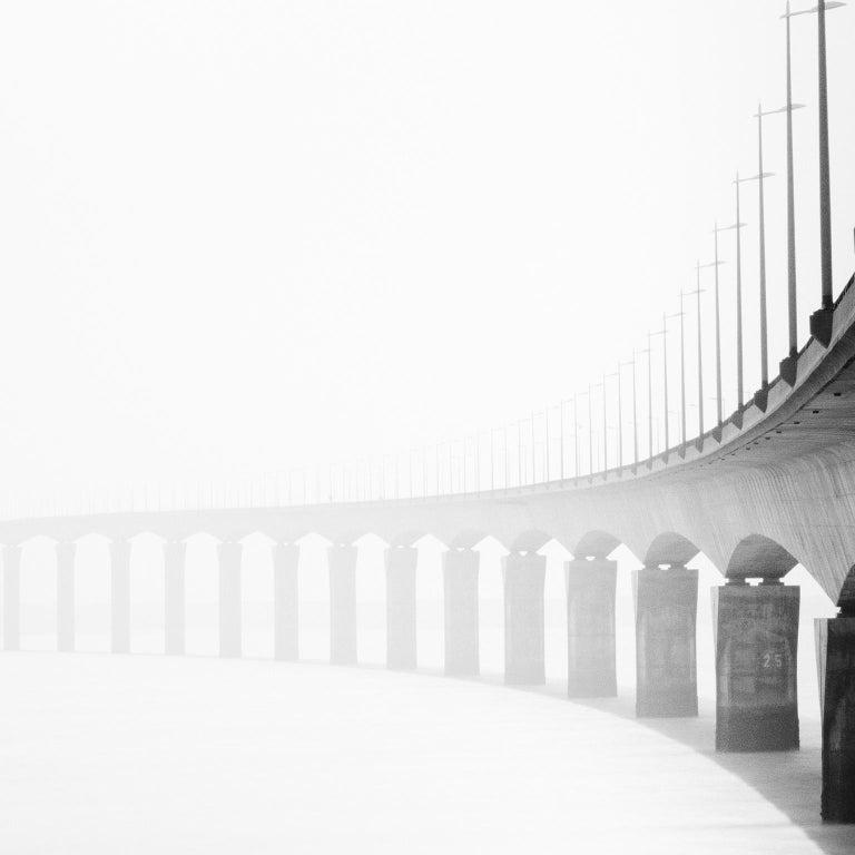 Bridge Study 1, France - Black and White Fine Art Photography - Gray Landscape Photograph by SILVERFINEART