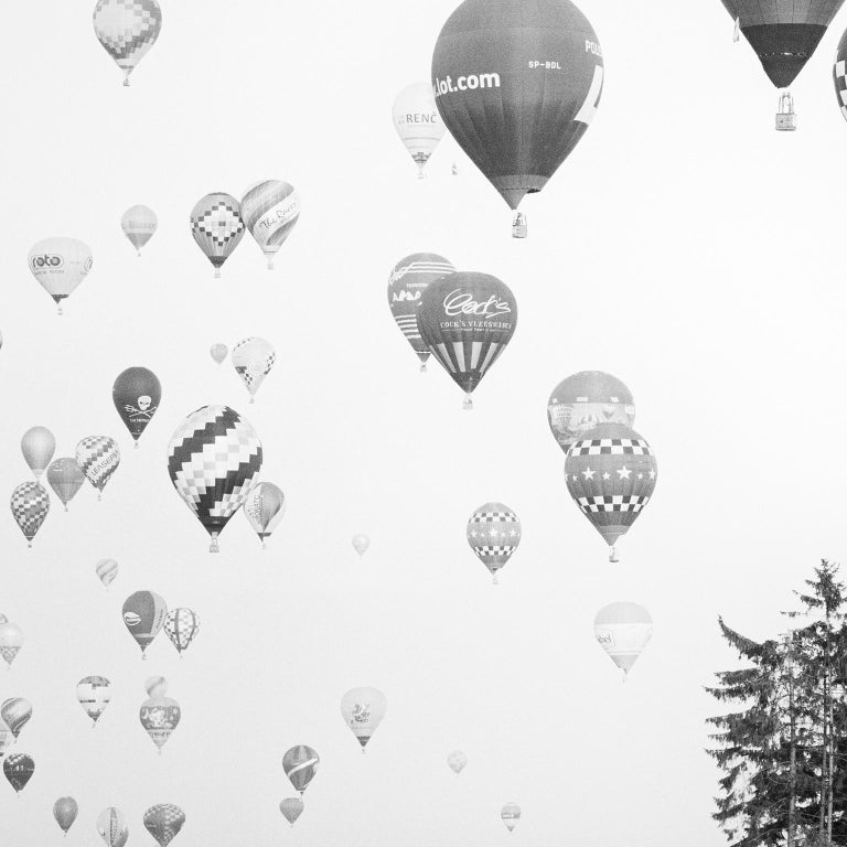 Hot Air Balloon Study #11, Austria - Black and White Fine Art Photography - Gray Black and White Photograph by SILVERFINEART