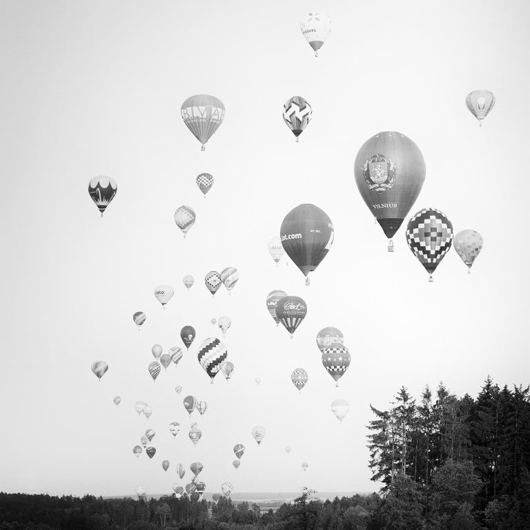 SILVERFINEART  Black and White Photograph - Hot Air Balloon Study #11, Austria - Black and White Fine Art Photography