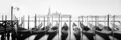 Twelve Gondolas, Venice, Italy - Black & White Fine Art Photography