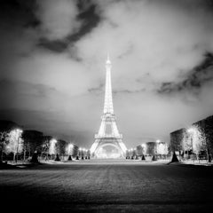 Eifel Tower Night Study 1, Paris, France - Black and White Fine Art Photography