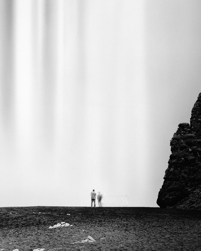 Skogafoss 2, Waterfall, Iceland - Black and White Fine Art Photography - Gray Black and White Photograph by Gerald Berghammer, Ina Forstinger