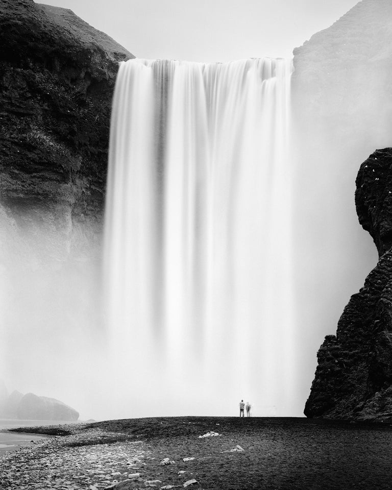 Gerald Berghammer, Ina Forstinger Black and White Photograph - Skogafoss 2, Waterfall, Iceland - Black and White Fine Art Photography
