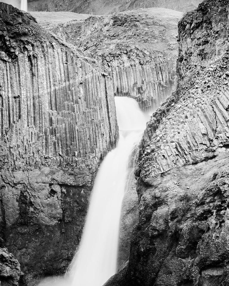 Hengifoss Study 2, Iceland - Black and White Fine Art Photography - Gray Black and White Photograph by Gerald Berghammer, Ina Forstinger