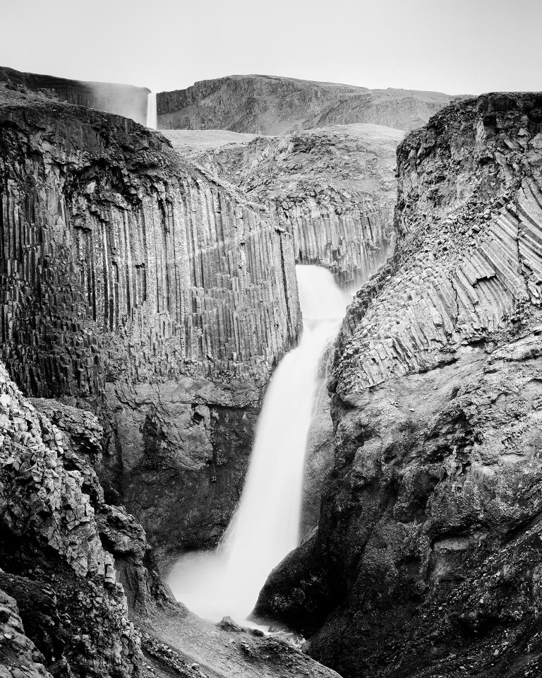 Gerald Berghammer, Ina Forstinger Black and White Photograph - Hengifoss Study 2, Iceland - Black and White Fine Art Photography
