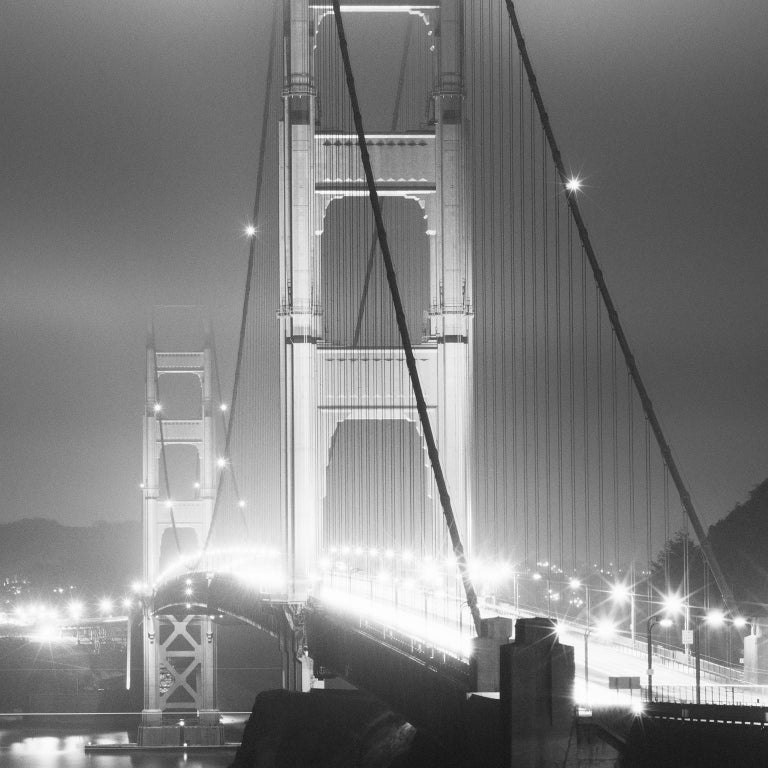 Golden Gate Night Study 4, California, USA - Black and White Art Photography - Gray Black and White Photograph by Gerald Berghammer, Ina Forstinger