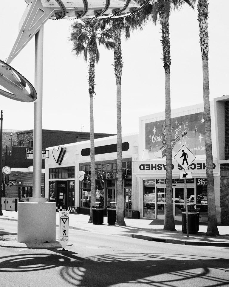 Fremont East District, Las Vegas, USA - Black and White Fine Art Photography - Gray Black and White Photograph by Gerald Berghammer, Ina Forstinger