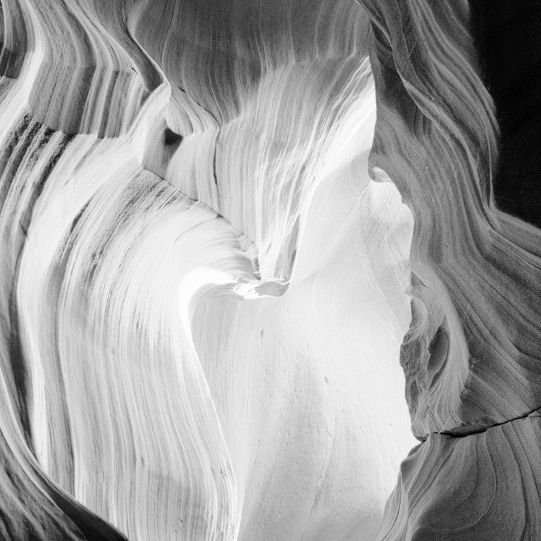 Heart Study #2, Antelope Canyon, Arizona, USA - B&W Fine Art Film Photography - Black Black and White Photograph by Gerald Berghammer, Ina Forstinger