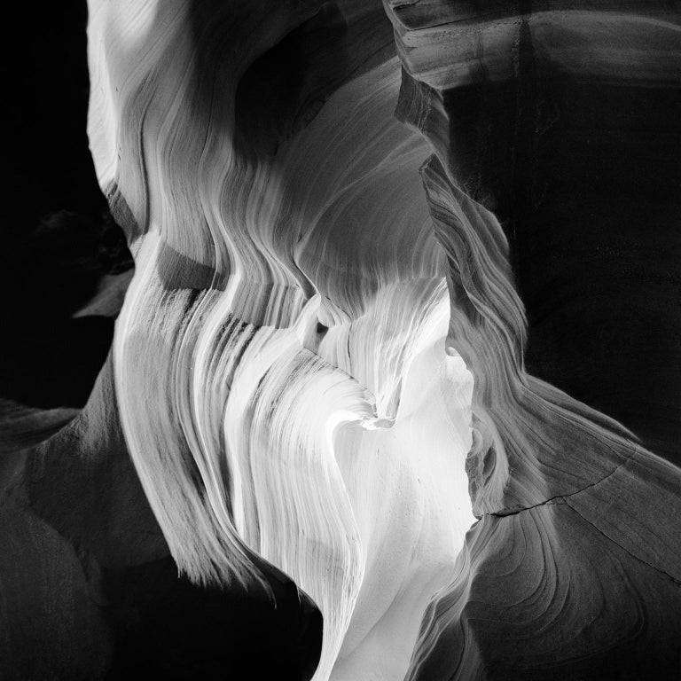 Gerald Berghammer, Ina Forstinger Black and White Photograph - Heart Study #2, Antelope Canyon, Arizona, USA - B&W Fine Art Film Photography
