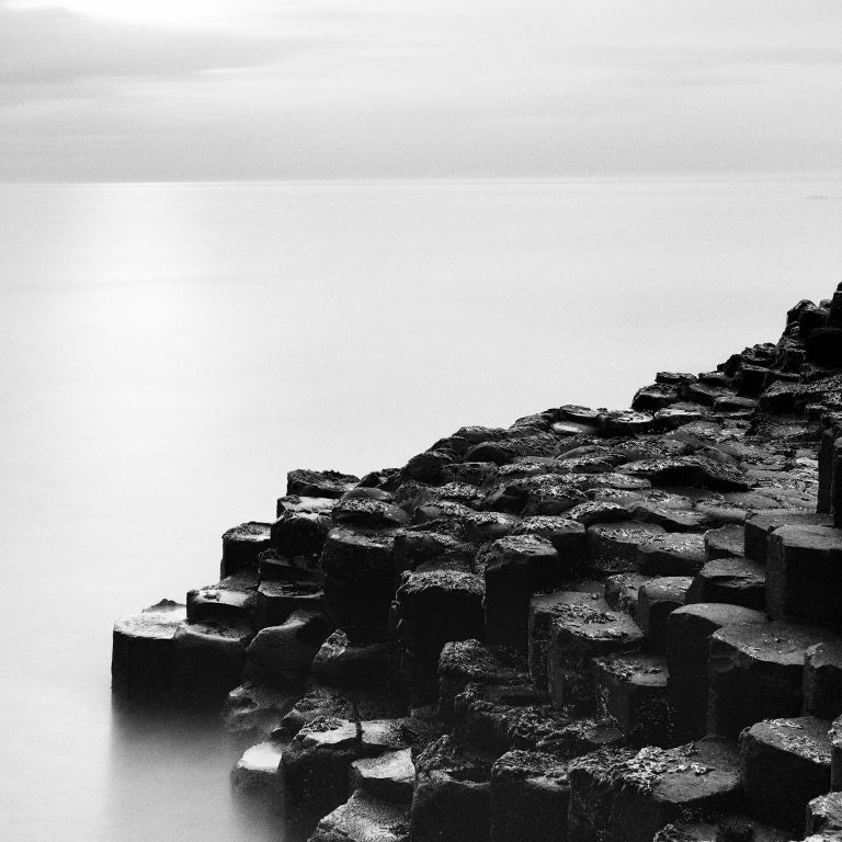 Giants Causeway 2, Ireland - Black and White Long Exposure Fine Art Photography - Gray Black and White Photograph by Gerald Berghammer, Ina Forstinger