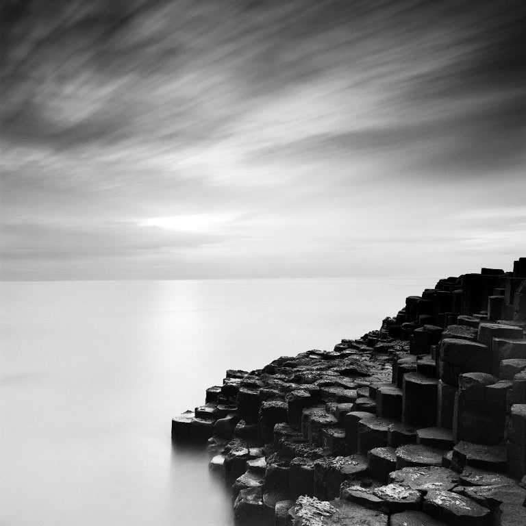 Gerald Berghammer, Ina Forstinger Black and White Photograph - Giants Causeway 2, Ireland - Black and White Long Exposure Fine Art Photography