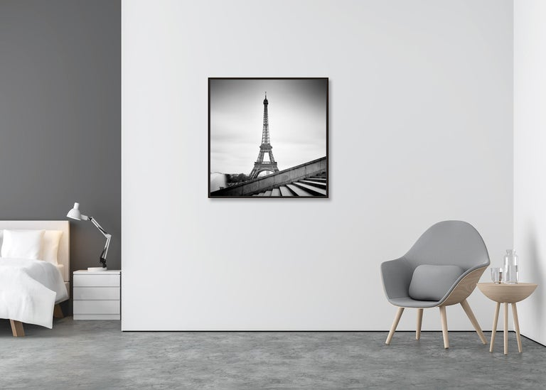 Eiffel Tower Study 13, Paris, France - Black and White fine art film photography - Gray Landscape Photograph by Gerald Berghammer, Ina Forstinger