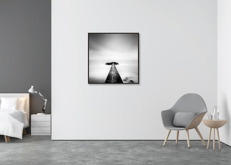 Black End, France - Black and White fine art long exposure analogue photography - Gray Landscape Photograph by Gerald Berghammer