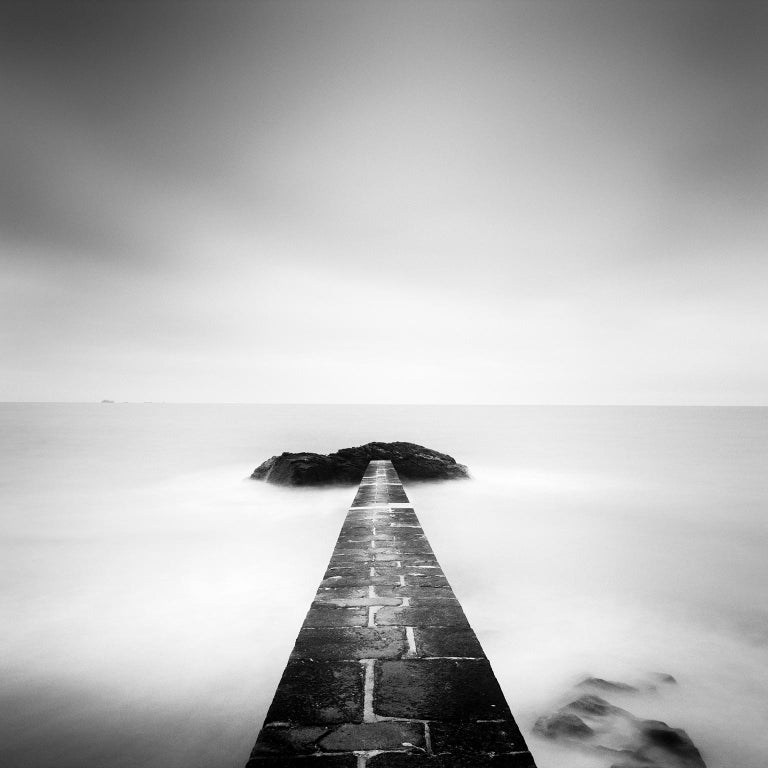 Gerald Berghammer Landscape Photograph - Black End, France - Black and White fine art long exposure analogue photography