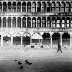 Caffe Florian, Venice, contemporary black and white photography, landscape