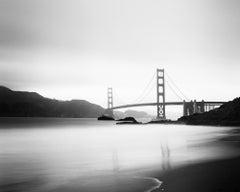 Golden Gate Bridge, Marshalls Beach, black and white photography, landscape