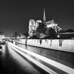 Notre Dame Night, Paris, black and white fine art photography, art cityscapes