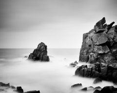 Rocky Stone Coast, France, long exposure black and white photography, landscape