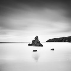 Sea Stack, Scottish Coast,  black and white minimalist photography, landscapes