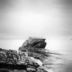 Fissured Rock, Scottish Coast, Isle of Sky, minimalist black and white landscape