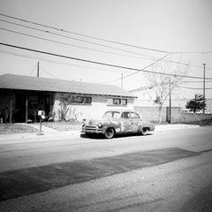 House 285, Old Car, Arizona, USA, black and white photography, art landscapes