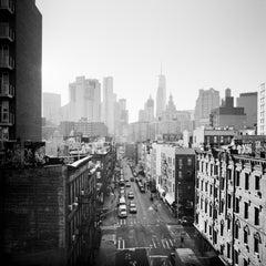Chinatown, Skyline, New York City, USA, black and white photography, landscape